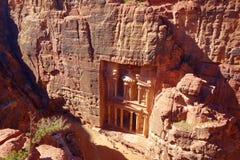 Schatkist van hierboven Al Khazneh in de oude stad van Petra, Jordanië, Unesco-de Plaats van de Werelderfenis stock afbeelding