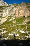 Schatten auf Berg mangart Stockfotos