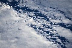 Schatten auf dem Schneefeld Stockbild