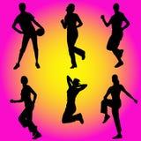 Schatten der Sportfrauen Stockfotos
