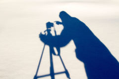 Schatten des Fotografen Stockbild