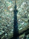 Schatten des Himmelbaums Tokyo über Stadtwolkenkratzer: Funkelndes Weihnachten Stockbilder