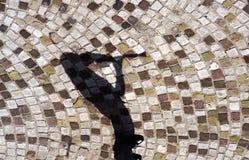 Schatten des Musikers sein Instrument spielend Stockfotografie
