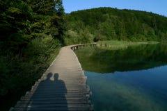 Schatten des Paares durch einen See Lizenzfreies Stockfoto