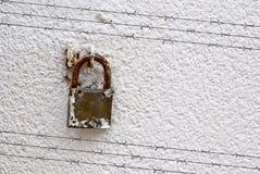 Schatten des Stacheldrahts auf Wand mit Vorhängeschloß Stockfotografie