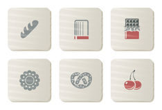 Schatten en de pictogrammen van de Bakkerij | De reeks van het karton Royalty-vrije Stock Fotografie