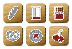 Schatten en de pictogrammen van de Bakkerij | De reeks van het karton Stock Afbeeldingen