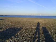 Schatten-Fotograf Beach Windmills Lizenzfreies Stockbild