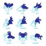 Schatten-Handpuppen auf einem weißen Hintergrund für Ihr Design Schatten-Theater oder Schatten-Spiel set Vogel, Hund, Stier Lizenzfreie Stockfotografie