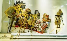 Schatten-Marionette wayang kulit am Marionetten-Museum Charaktere von Geschichte Bharata Yudha Alter Stadt-Tourismus-Bereich lizenzfreie stockbilder
