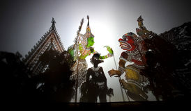 Schatten-Marionetten-Spiele (Wayang Kulit) Stockfoto