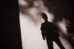 Schatten von Baumasten und von Mann Stockbild