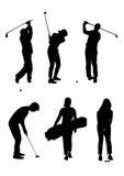 Schatten von sechs Golfspielern Lizenzfreies Stockfoto