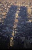 Schatten von Welthandels-Türmen über New York City, NY Stockbilder