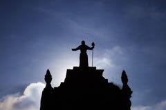 Schattenbild über Kathedrale in Cusco, Peru Lizenzfreie Stockbilder