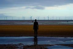 Schattenbild auf einem Strand stockbild