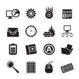 Schattenbild-Computer, Handy und Internet-Ikonen Stockbilder