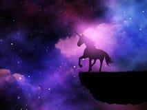 Schattenbild 3D eines Fantasieeinhorns gegen einen Raumnächtlichen himmel