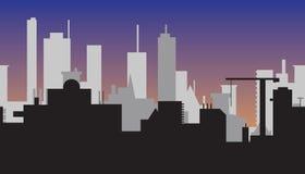 Schattenbild der abstrakten Stadt bei Sonnenuntergang Stockfoto