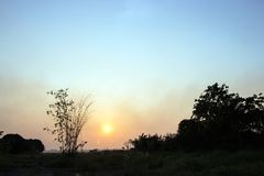 Schattenbild der Ansicht bei Sonnenuntergang lizenzfreies stockfoto