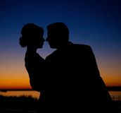 Schattenbild der Brücke und des Bräutigams Lizenzfreie Stockfotos