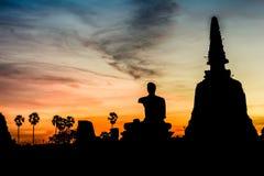 Schattenbild der Buddha-Statue Stockbilder