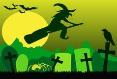 Schattenbild der Fliegenhexe auf Besen, mit Spinne, Raben und Schlägern Stockbild