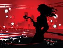 Schattenbild der Frau in der Nachtgroßen Stadt lizenzfreie abbildung