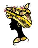 Schattenbild der Frau mit Blumen Lizenzfreies Stockfoto