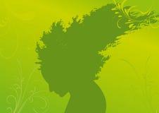 Schattenbild der Frau mit dem Haar vom Baum Lizenzfreie Stockfotos