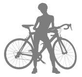 Schattenbild der Frau mit einem Fahrrad Lizenzfreies Stockfoto