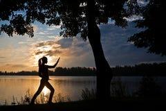 Schattenbild der Frau Yoga auf einem Flussufer tuend Stockbild
