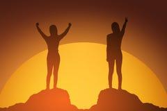 Schattenbild der gewinnenden Erfolgsfrau bei dem Sonnenuntergang oder Sonnenaufgang, die oben ihre Hand in der Feier stehen und a vektor abbildung