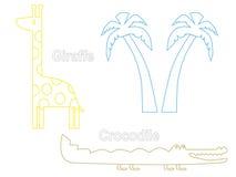 Schattenbild der Giraffen-, Krokodil- und Palme Stockfotos