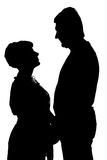 Schattenbild der glücklichen Paare lizenzfreie stockfotos