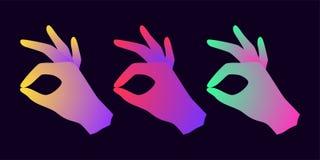 Schattenbild der Hand mit okay Geste und Steigung Lizenzfreies Stockfoto