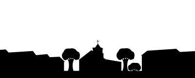 Schattenbild der Kirche in der Stadt. Lizenzfreie Stockfotografie