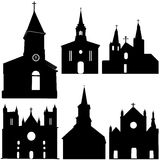 Schattenbild der Kirchevektorkunst Stockbild