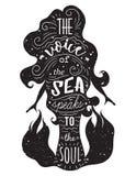 Schattenbild der Meerjungfrau mit inspirierend Zitat Stockbilder