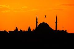 Schattenbild der Moschee bei Sonnenuntergang in Istanbul Lizenzfreie Stockfotos