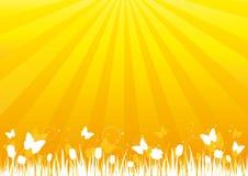Schattenbild der Natur auf goldenem Hintergrund Lizenzfreies Stockfoto
