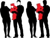 Schattenbild der neuen glücklichen Familie Stockfoto