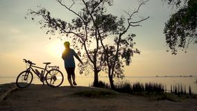 Schattenbild der Radfahrerfrau gehend mit Fahrrad an der Küste, Übung ausdehnend stock video footage