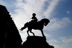 Schattenbild der Reiterstatue stockfoto