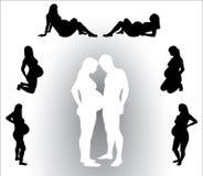 Schattenbild der schwangeren Frau Lizenzfreie Stockbilder