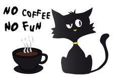 Schattenbild der schwarzen Katze der Karikatur in der schlechten Stimmung mit gelber Nase und Kragen, Tasse Kaffee stock abbildung