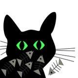 Schattenbild der schwarzen Katze mit dem Fishbone stock abbildung