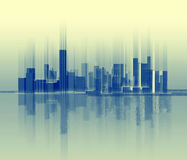Schattenbild der Stadt, die einer Schallwelle ähnlich ist Lizenzfreie Stockfotos