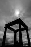 Schattenbild der vier Spalten in Avila Stockfotos