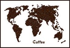 Schattenbild der Weltkarte gemacht von den Kaffeebohnen mit hervorgehobenem Brasilien Kaffeebeschriftung Lizenzfreies Stockbild